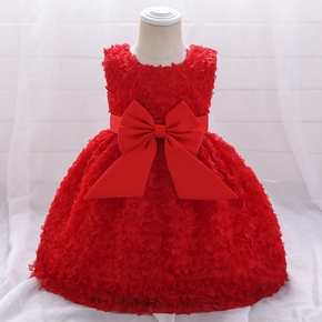 Toddler Girl Floral Bowknot Print Lace Princess Party Dress