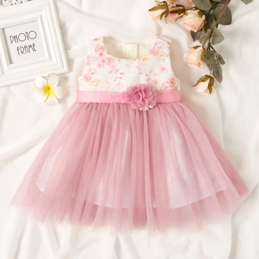 Floral Print Lace and Mesh Decor Sleeveless Pink Baby Formal Dress