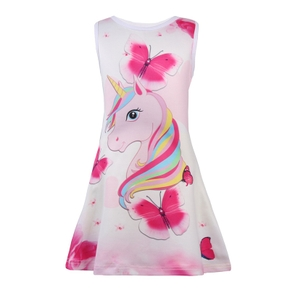 Beautiful Unicorn and Butterfly Pattern Sleeveless Dress