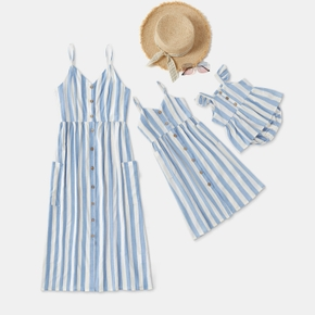 Mosaic Blue and White Vertical Stripe Matching Sling Midi Dresses