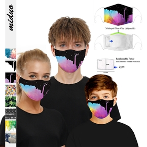 2-Layer Printed Woven Shell Half Face Mask (Include Two Replaceable Filters)