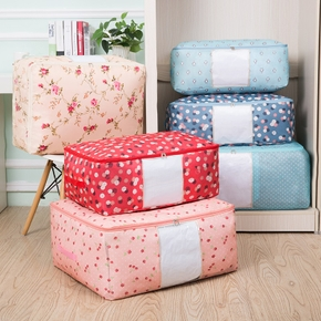New Portable Clothes Storage Bag Fresh Printed Zipper Storage Bag Folding Closet Organizer For Pillow Quilt Blanket Quilt