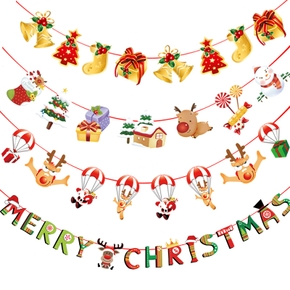 Christmas Banners Paper Hanging Flags Snowman Deer Tree Bunting Garland Decorations Home Party