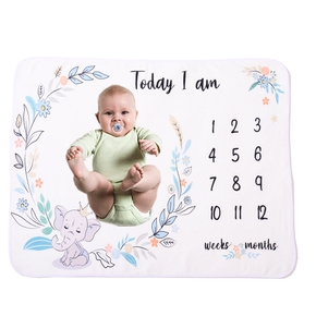 Elephant Newborn Infant Photo Background Monthly Growth Cloth Cute Baby Trendy Blanket
