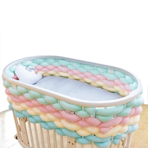 5M Length Newborn Crib Fence Monochrome Hand-Woven Soft Packaging Anti-Collision Protection Strip Baby Room Decor