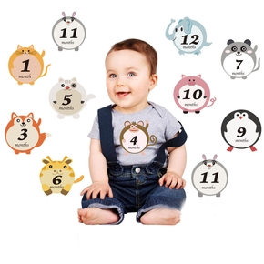 12Pcs Month Sticker Baby Photography Commemorative Card Number Milestone Memorial Sticker Newborn Baby Photo Props Accessories