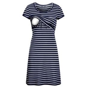 Casual Striped Short-sleeve Nursing Dress ( Random printing position)