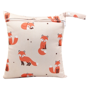 Fox Print Waterproof Hanging Cloth Diaper Wet/Dry Bags