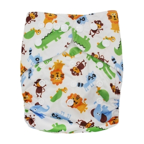 Reusable Washable Adjustable Cartoon Animal Print Cloth Diaper