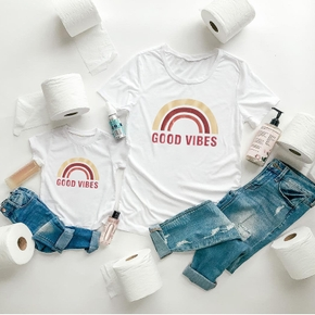 """GOOD VIBES"" Letter Rainbow Print Pattern Cotton White T-shirts for Mom and Me"