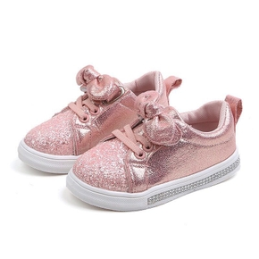 Toddler / Kid Girl Bowknot Solid Tie Glittery Shoes