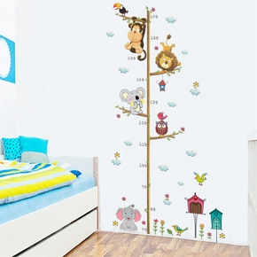 Cartoon Animals Lion Monkey Owl Elephant Height Measure Wall Sticker For Kids Rooms Growth Wall Art