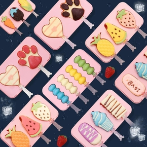 Silicone Cute Cartoon Ice Cream Mold Popsicle Mold Reusable Ice Pop Mold With Lids and Sticks Ice Lolly Mould Home kitchen tools