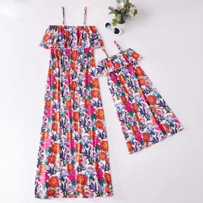 Mosaic Bohemia Flower Flounce Off Shoulder Mommy and Me Dresses
