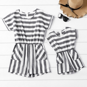 Grey and White Stripe Short-Sleeve Matching Shorts Rompers