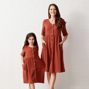 Mosaic 100% Cotton Solid Color Short-sleeve Matching Midi Dresses