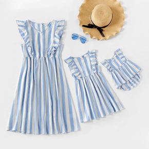 Mosaic Blue and White Stripe Matching Midi Dresses