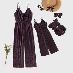 100% Cotton Solid Color Matching Purple Sling Jumpsuits