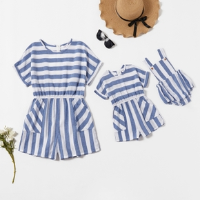 100% Cotton Blue and White Stripe Short-sleeve Matching Shorts Rompers