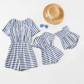 Blue and White Stripe Short-sleeve Matching Shorts Rompers
