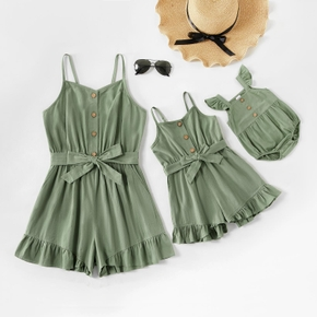 100% Cotton Solid Color Matching Green Sling Shorts Rompers