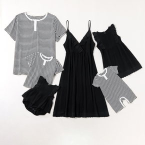 Mosaic Solid Black and Stripe Family Matching Sets