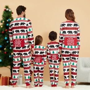Christmas Tree and Bear Patterned Family Matching Onesies Flapjack Pajamas (Flame Resistant)