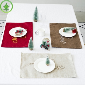 Christmas Letter Print Embroidery Placemat Decor