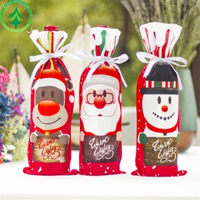 Christmas Santa Claus Snowman Print Bottle Coverup Decor