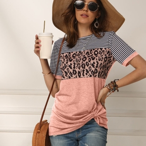 Fashionable Stripe Leopard  Splice Short-sleeve Tee