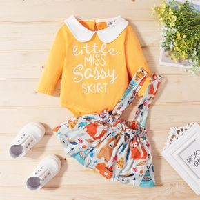 3-pcs Baby Girl Animal & Fox casual Suit-dress Long-sleeve Romper Sweet Princess dress Baby Girl Clothes