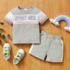 2pcs Baby Girl Short-sleeve Cotton Sweet Letter Baby's Sets