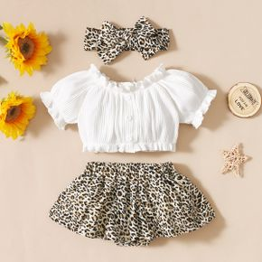 3pcs Solid and Leopard Print Baby Set