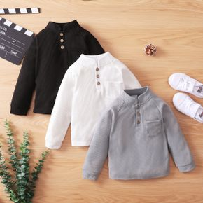 Toddler Boy Waffle Stand Collar Button Design Solid Long-sleeve Top