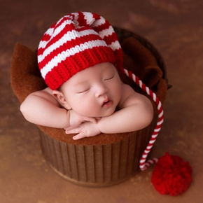 Christmas Baby knitting Long Tails Hat Newborn Photography Props Crochet Baby Hats 0-2 Month