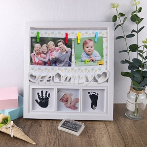 Newborn Baby Hand And Foot Print Mud Frame Baby Solid  Baby Souvenir Gift Random Pictures