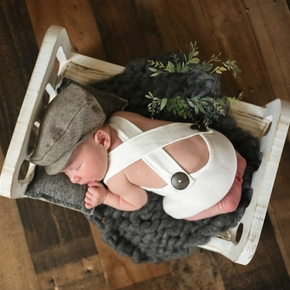 Knitted Button Newborn Overalls Baby Photography Prop Wrap