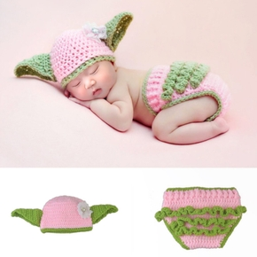 2PCS Baby Knitting Newborn Photography Props Crochet Baby Hats Baby Sweater Set