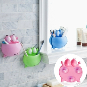 Wall Sucker Cute Cartoon Frog Plastic Toothbrush Rack Holder Bathroom Organizer