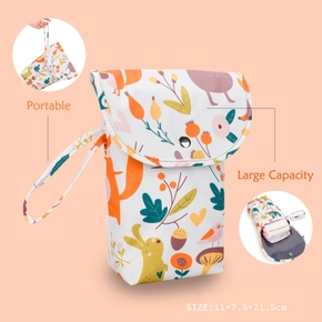 Cartoon Print Owl Rabbit Waterproof Hanging Cloth Diaper Wet/Dry Bags