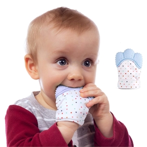 1-PC Baby Teether Gloves Squeaky Grind Teeth Oral Care Teething Pain Relief Newborn Bite Chew Sound Toys Silicone Gloves