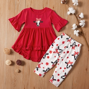 2pcs Cow and Floral Print Short-sleeve Red Baby Set