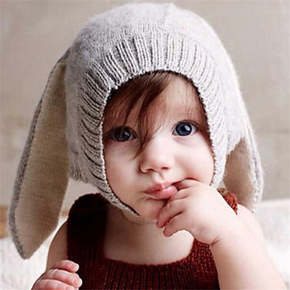 Baby / Toddler 3D Rabbit Ears Solid Kintted Thermal Hat