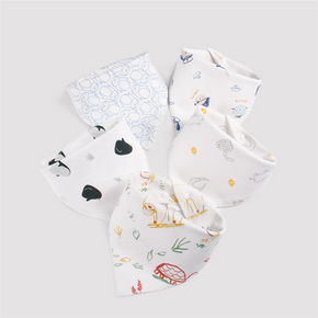 5PCS Baby Bib Soft Organic Cotton Baby Drool Cute Triangle Scarf Comfortable Drooling And Teething Towel Saliva Towel For Newborn