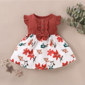 Baby / Toddler Floral Print Splice Dress
