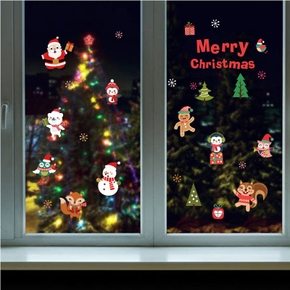 Christmas Animal Snowman Glass Window Sticker Decor
