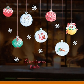 Christmas Santa Claus Snowman Print Window Removable Wall Stickers