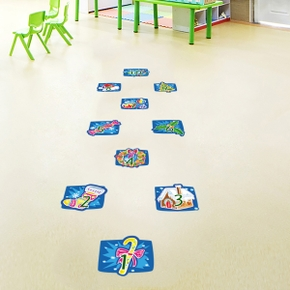 Square New Year Home Decor Floor Sticker Wallpaper Self Adhesive Number Game Christmas Removable Decal For Kids Room Corridor