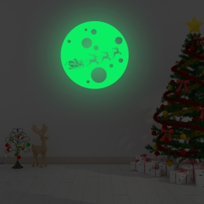 Happy Merry Christmas Luminous Moon Wall Sticker One Piece Home Christmas Decoration Stickers For Kids