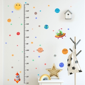 Star Spaceship Cartoon Height Stickers Wall Stickers Children's Room Living Room Bedroom Creative Wall Stickers